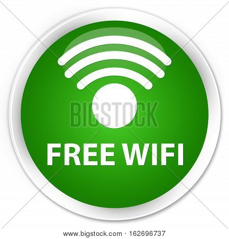 Free Wifi Premium Green Round Button