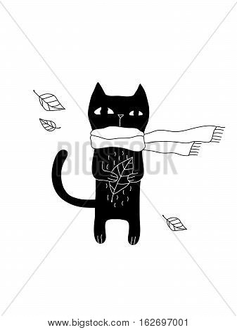 Cartoon cat illustration with hipster cat in scarf. Cute vector black and white cat illustration. Doodle monochrome cat illustration for prints, posters, t-shirts, flyers and cards.