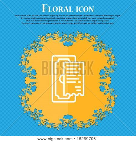 Cheque Icon Sign. Floral Flat Design On A Blue Abstract Background With Place For Your Text. Vector