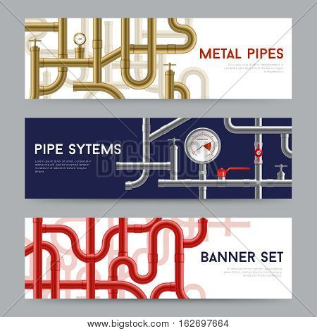 Pipe system horizontal realistic banners set isolated vector illustration