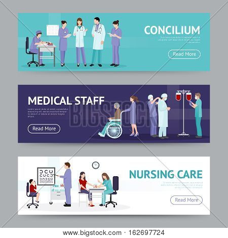 Medical care horizontal banners with doctor nurse counseling hospital workers in flat style vector illustration