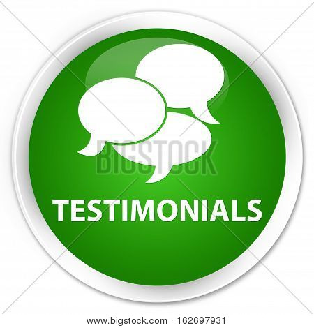 Testimonials (comments Icon) Premium Green Round Button