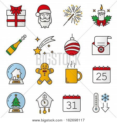 Christmas and New Year color icons set. Gift box, Santa Claus, sparkler, candle, champagne, falling star, Xmas tree ball, snow globes, ginger man, hot cup. Isolated vector illustrations