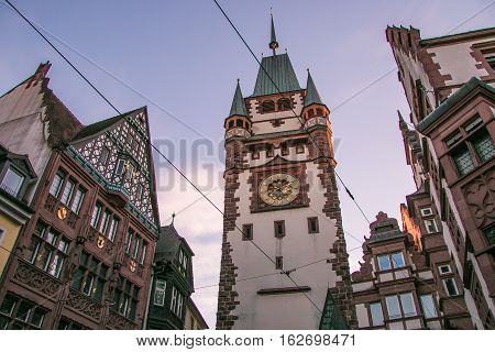 FREIBURG, GERMANY - DECEMBER 10, 2016: Historic Martinstor Clock tower in Freiburg, Germany