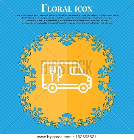 Food Truck Icon Sign. Floral Flat Design On A Blue Abstract Background With Place For Your Text. Vec