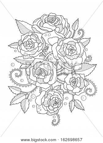 Rose flower coloring book for adults vector illustration. Anti-stress coloring for adult. Tattoo stencil. Zentangle style. Black and white lines. Lace pattern