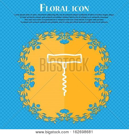 Corkscrew Icon Sign. Floral Flat Design On A Blue Abstract Background With Place For Your Text. Vect