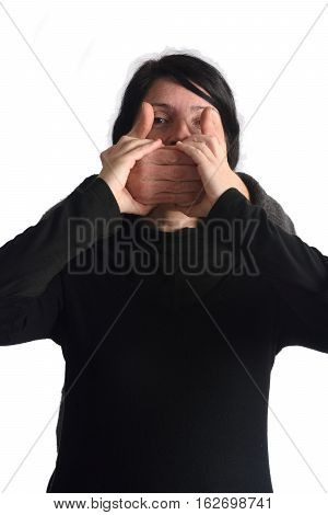 Assaulting and silencing a woman isolated on a white color