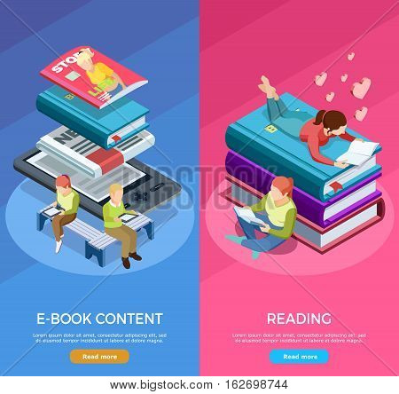Two colored isometric vertical reading banner set with e book content and reading descriptions vector illustration