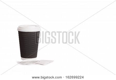 Disposable cup isolated on white background. Disposable tableware