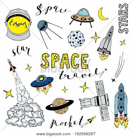 Set of vector elements on the space theme. Lettering.