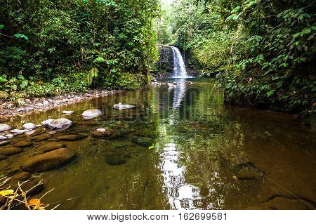 Waterfall in the middle of the Ecuadorian jungle