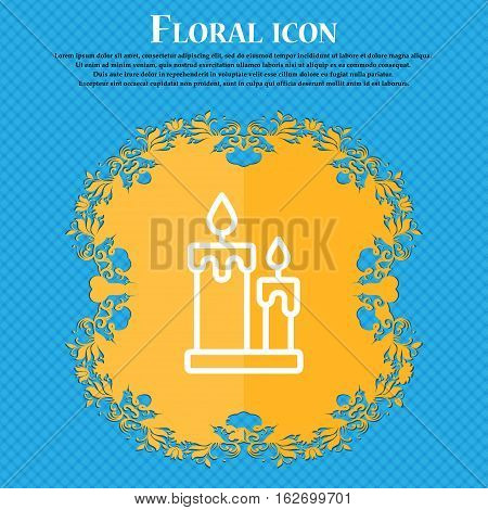 Candle Icon Sign. Floral Flat Design On A Blue Abstract Background With Place For Your Text. Vector