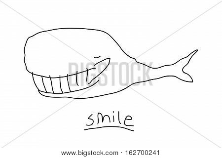Cartoon whale illustration with linear smiling whale. Cute vector black and white whale illustration. Doodle monochrome whale illustration for prints, posters, t-shirts, flyers and cards.