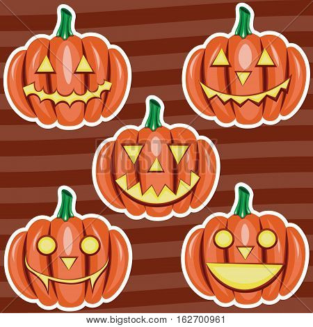 Halloween pumpkin cute cartoons five stickers set