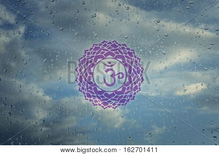 Sahasrara chakra symbol. Poster for yoga class with a clouds view.