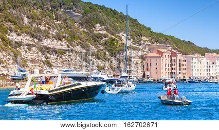 Pleasure Boat Enters Port  Of Bonifacio