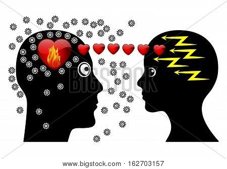 Love at First Sight. Attraction at first seeing makes couple brainless