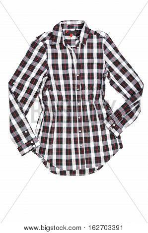 tartan shirt on white background. Red tartan cowboy shirt.