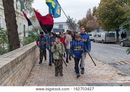 Kiev Ukraine - October 14 2016: Young supporters of the Nationalist Party