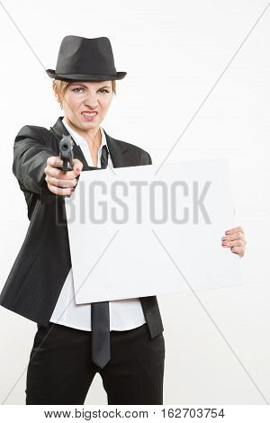 Portrait of a beautiful business woman holding a blank billboard. Ready to add text. Isolated over white background.