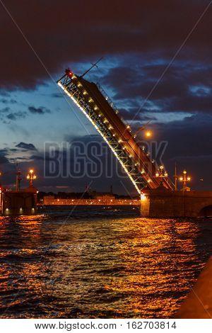 Drawbridge In St. Petersburg, On The Neva River