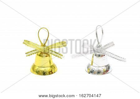 Isolated Gold And Silver Christmas Bell Toy On White Background