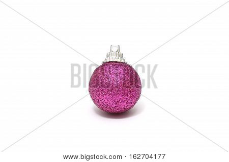 Isolated Purple Christmas Ball Decoration On White Background