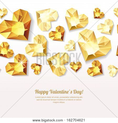 Valentines Day Vector Seamless Background With 3D Gold Heart Diamonds, Gems, Jewels.