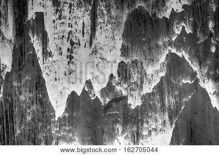 Damaged metal rust texture. Abstract grunge background. Black and White