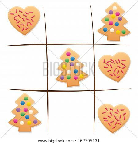 Leftover cookies - playing tic tac toe after christmas.