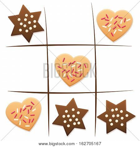 Christmas cookies - tic tac toe game with shortcrust and gingerbread.