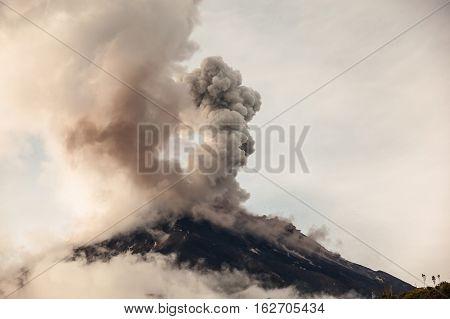 Tungurahua volcano erupting, in the ecuadorian Andes