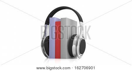 3D Rendering Pair Of Wireless Headphones And Audio Books
