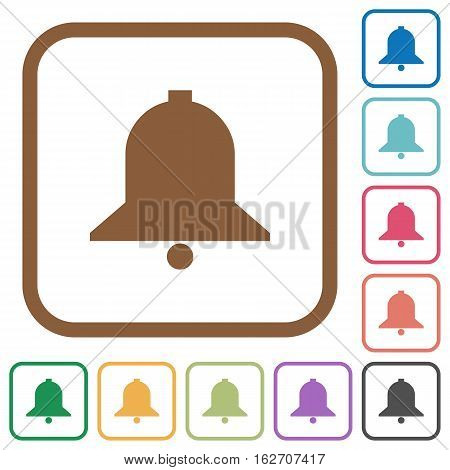 Bell simple icons in color rounded square frames on white background