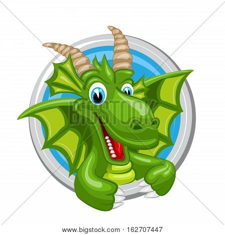 Capricorn. Zodiac sign. Horoscope. Cheerful green dragon with big horns.