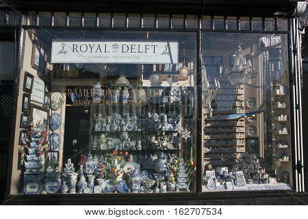 Delft Pottery Store In Amsterdam