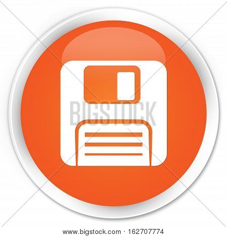 Floppy Disk Icon Premium Orange Round Button