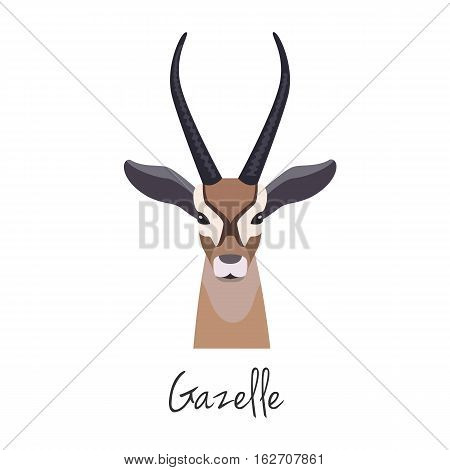 Vector flat cartoon gazelle head, Animal of Africa. , Anthelope muzzle isolated. Flat style, cartoon object. poster banner print advertising, design element.