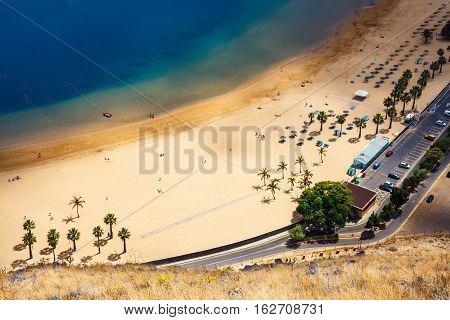 Aerial view on Teresitas beach near Santa CruzTenerife Canary islands Spain