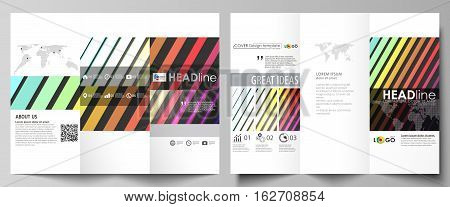 Tri-fold brochure business templates on both sides. Easy editable abstract layout in flat design, vector illustration. Bright color rectangles, colorful design, geometric rectangular shapes forming abstract beautiful background