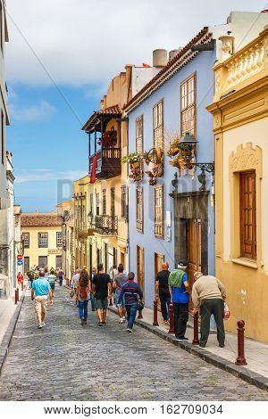 La Orotava, Tenerife, Spain - June 11, 2015: The Historical Center Of La Orotava Town, Tenerife Isla