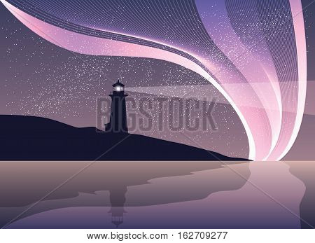 Lighthouse on the rock with sea and northen light. Night landscape vector illustration
