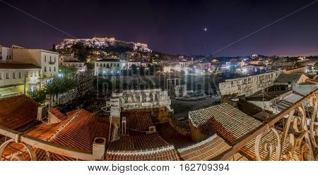 acropolis by night panorama plaka and roman agora view