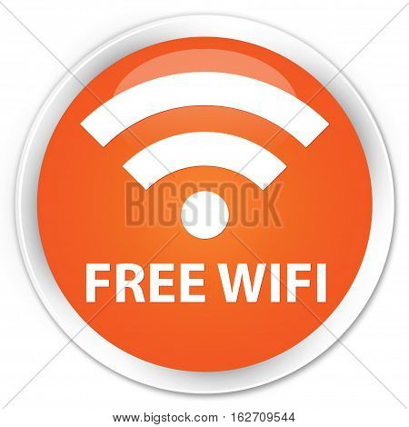 Free Wifi Premium Orange Round Button