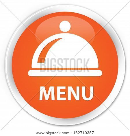 Menu (food Dish Icon) Premium Orange Round Button