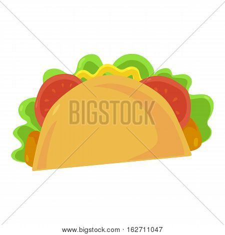 Fast food taco icon. Vector illustration for mexican restaurant menu design. Tortilla image. Lunch isolated on white background.
