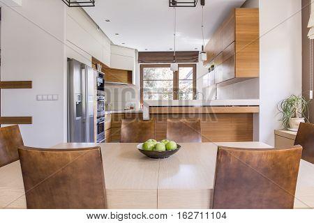 Beige And Brown Kitchen Design