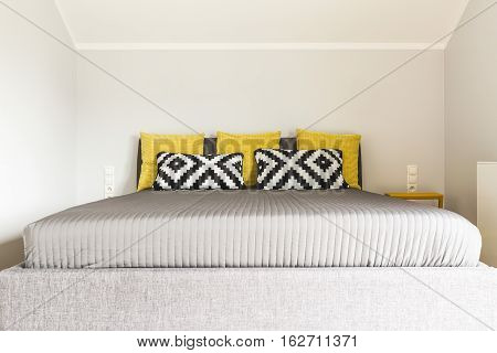 Double Bed With Bedside Table