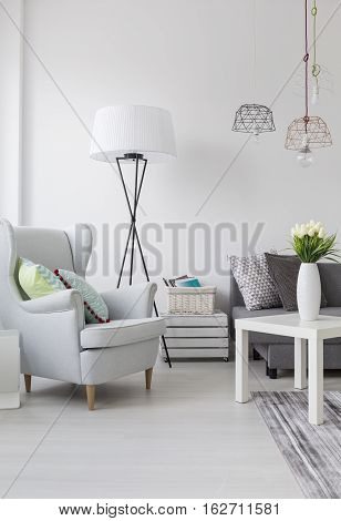 Bright Living Room With A White Armchair And Lamp